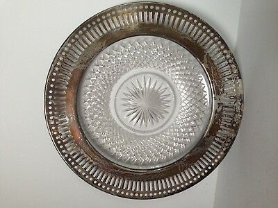 Antique Cut Crystal Sterling Silver Pierced Reticulated Inlay Plate Hallmarked