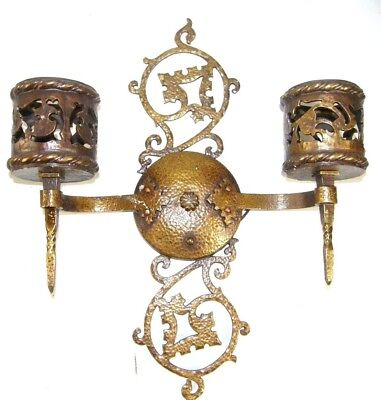 Antique Gothic Revival Pamco 2 Torch Light Hammered Brass Wall Sconce Ornate