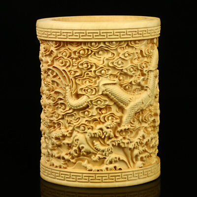 Chinese Boxwood Hand Carved Dragon Exquisite Brush Pot MB002