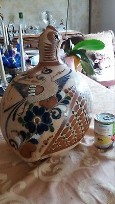 Rare & Very Large Mexican Folk Art Pottery Art Piece Beautiful Art Glaze