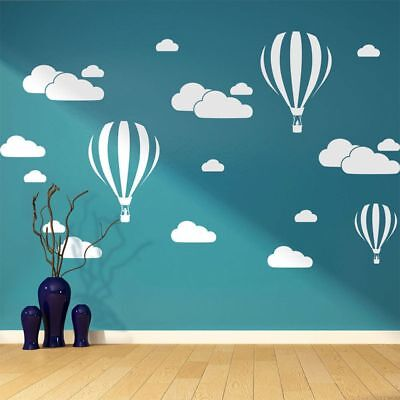 White Clouds Hot Air Balloon Wall Art Sticker Background Home Decor Mural Decals