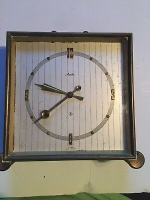 Vintage F Mauthe 8  Brass 4 jewels clock made in germany