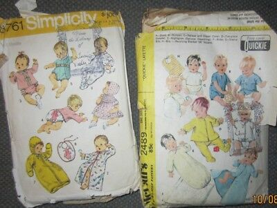 1970's Vintage Layette patterns McCall's 2489 Simplicity 8761 sizes newborn-6 mo