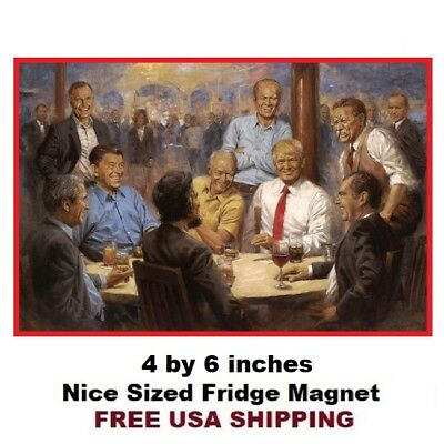 489- Trump and Lincoln having a diet coke painting white house Fridge Magnet