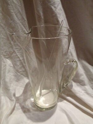Large Vintage Mid Century Modern Glass Martini Pitcher & Stirrer BEAUTIFUL