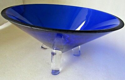 Cobalt Blue Glass Bowl Table Server Tri Legs