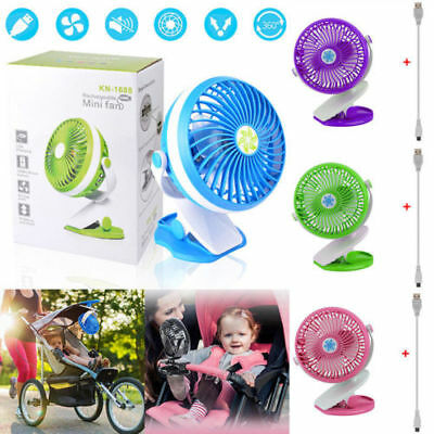 Portable Mini Clip On Desk Fan USB Pram Cot Car 360° Rechargeable Office Laptop