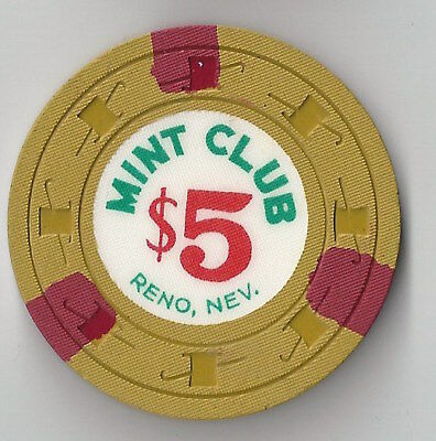 $5 Reno 2Nd Edt Mint Club Casino Chip H&c Mold Nevada 3 Red Inserts