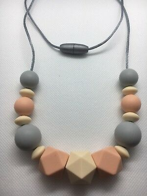 Silicone Necklace for Mum Jewellery Beads Aus Gift Peach (was Teething) Nursing