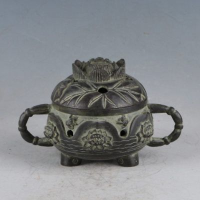Chinese Rare Bronze Lotus IncenseBurner Made During TheQianlong Period HST0014`c