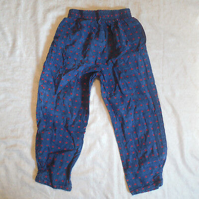 Vintage OshKosh BGosh Girls Pants Sz 6 Blue Denim Floral Pull On 80s 90s Cotton