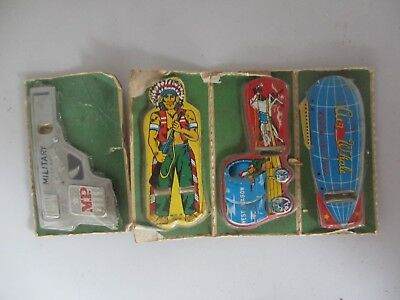 Nice group of 4 showground show bag metal toys unopened from side show alley