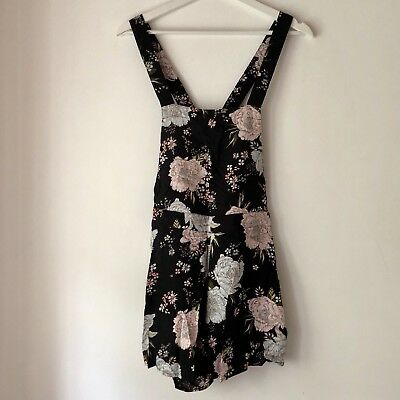H&M Floral Black Pinafore Salopette Shorts Size 40 IT New Without Tag