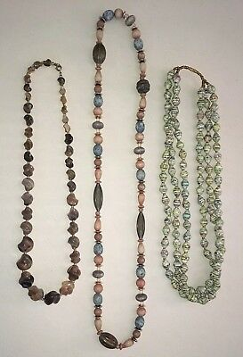 Vintage Estate Assorted Beaded Necklace Lot Of 3 Costume Fashion Jewelry