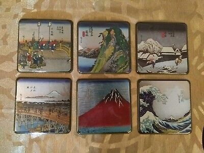 Set of Six Japanese Coasters of Ukiyoke, Landscapes By Hokusai & Hiroshige