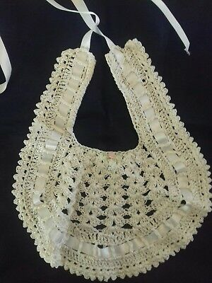 Vintage Hand Crocheted Baby Bib for Christening/Special Occasion.