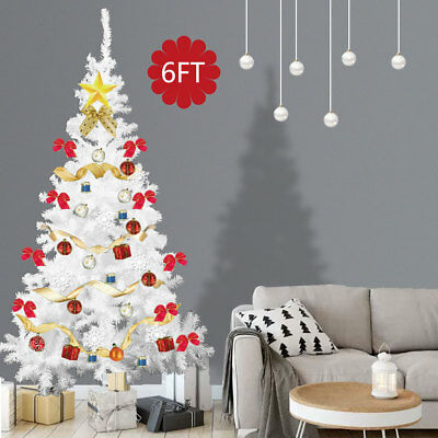 6Ft White Christmas Tree Artificial Unlit Premium Spruce Hinged Tree Holiday