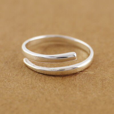 925 Sterling Silver Simple Line Knuckle Midi Pinkie Toe Ring X3367 US Warehouse