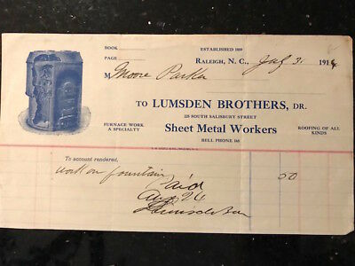 "Vintage invoice ""Lumsden Brothers"" Raleigh, NC 1914"