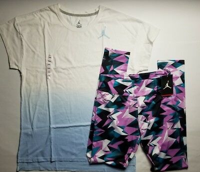 Nike Air Jordan Girls 2 PC Set Shirt Tee & Legging Outfit Size XXL