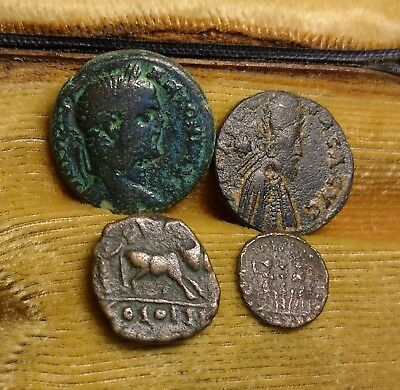Lot Of 4 Bronze Roman Coins  //343