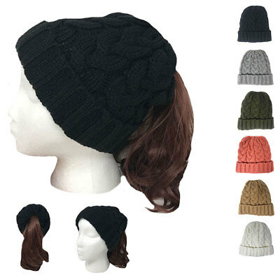 Casaba Womens Ponytail Hair Bun Hole Cuffed Beanie Toboggan Cap Hat Warm Knitted