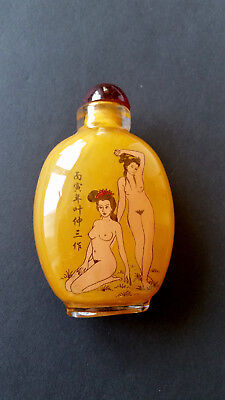 Snuff Bottle, EROTIK-Glas-Flakon, Hinterglasmalerei, China 20. Jh.