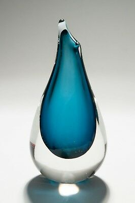 Vintage Sea Glasbruk Scandinavian Art Glass Teardrop Vase in Blue & Clear