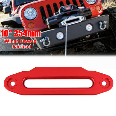10'' 254mm Red Aluminium Hawse Fairlead 16800lbs for Winch Synthetic Rope 4WD