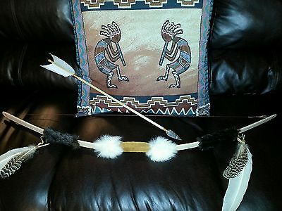 "BOW AND ARROW NATIVE AMERICAN INDIAN 48"" SHOOTER with FLAX & ONE ARROW"