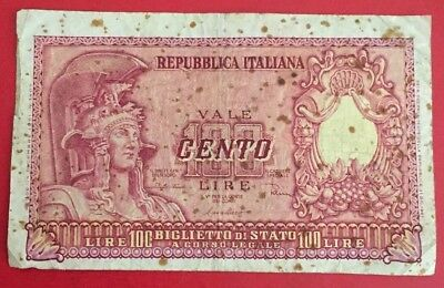 1951 Italy 100 Lire banknote
