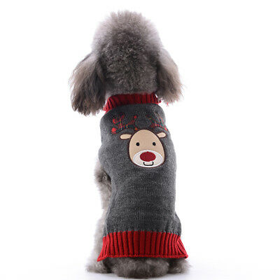Warm Dog Clothes Christmas Puppy Cat Winter Sweater knit Jumper Reindeer Pattern