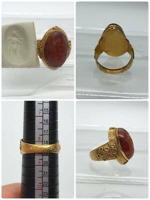 22k Karat Gold Rare Ring Ancient Roman King Seal Agate stone