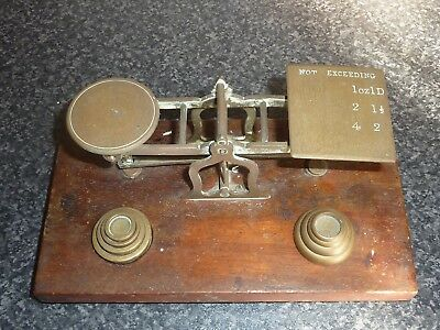 Set Of Late 19Th Century Victorian Brass Postal Scales With 8 Weights Wood Base
