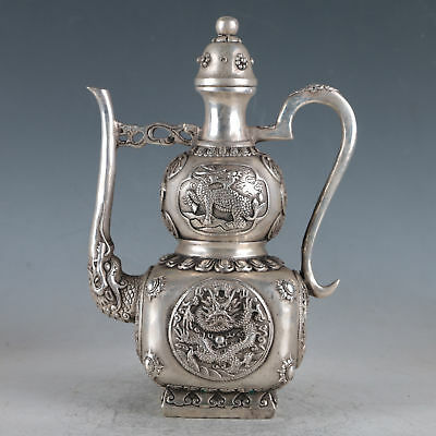 Chinese Silvering Copper Dragon Teapot  Made During The DaMing Xuande