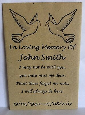 100 Personalised Funeral Favours Seed Packets Doves Keepsake With Seeds