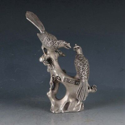 Chinese Silvering Copper Magpie&Plum Statue Made During The Qianlong Period .a