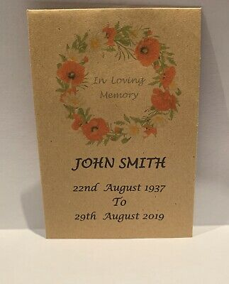 75 Personalised Funeral Favours Seed Packets Poppy Wreath with Seeds