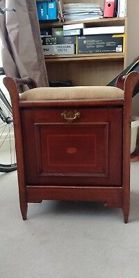 Antique mahogany piano stool with satinwood inlay
