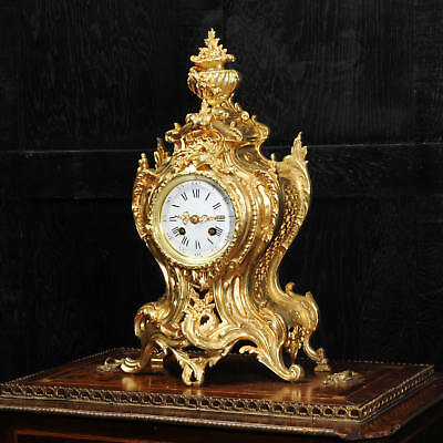 Antique French Gilt Bronze Rococo Clock Vincenti Stunning Fully Working C1870