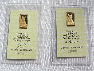 Lot of 2 - 1 gram Gold Bar Credit Suisse Liberty Sealed with Assay Certificate
