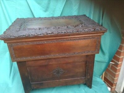Antique Anglo Indian Folding Sewing Box Superb Quality Carving,lovely Colour