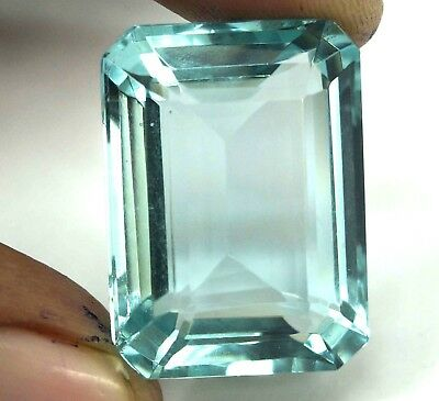 GGL Certified 46.75 Ct Emerald Cut Blue Aquamarine Transparent Untreated Gem