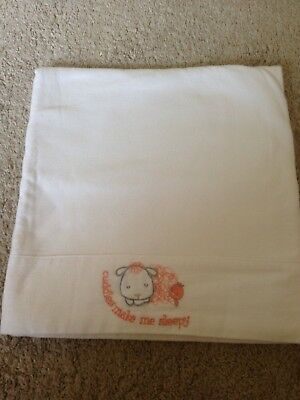 MOTHERCARE FLANNELETTE COT/COT BED SHEET WHITE Cuddles make me sleepy embroidery