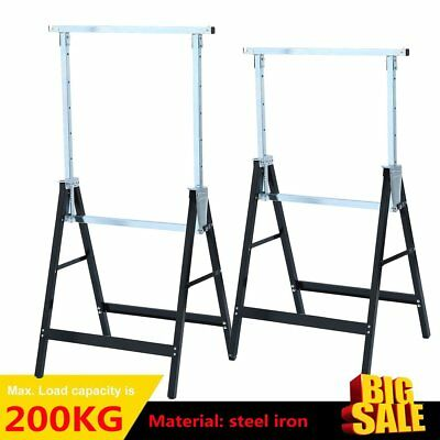 New 2pc Telescopic Trestle Saw Horse Foldable Work Bench Steel Workbench Support