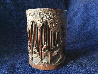 Antique Chinese Qing 19thC Carved Bamboo Brushpot Bitong Sages of Bamboo Grove