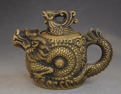chinese old pure copper hand-carved phoenix lid dragon teapot /qianlong mark d02