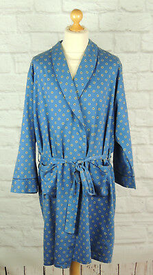 ST MICHAEL- Vintage Blue Cotton Dressing Gown/Smoking Jacket - Large