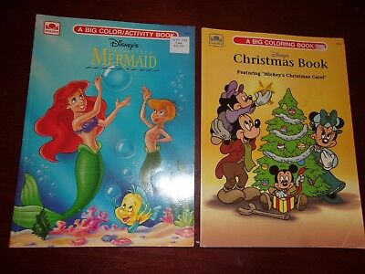 Lot of 2 Vintage UNUSED Disney Coloring Books, Little Mermaid, Christmas Book