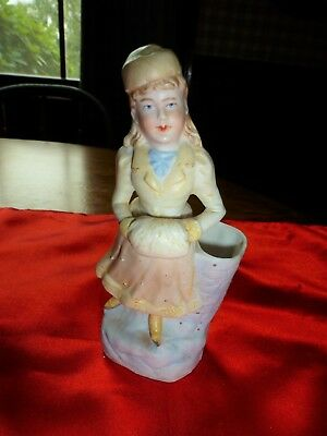Antique Victorian German Bisque Christmas Vase - Snow Girl / Muff Ice Skater?